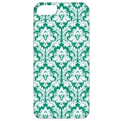 White On Emerald Green Damask Apple Iphone 5 Classic Hardshell Case