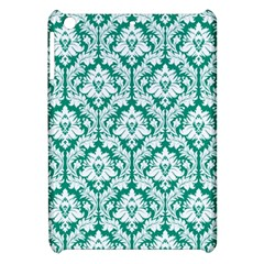 White On Emerald Green Damask Apple iPad Mini Hardshell Case