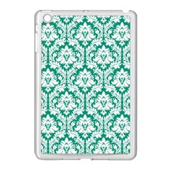 White On Emerald Green Damask Apple iPad Mini Case (White)