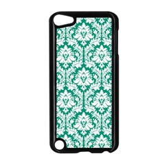 White On Emerald Green Damask Apple iPod Touch 5 Case (Black)