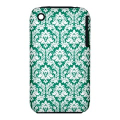 White On Emerald Green Damask Apple Iphone 3g/3gs Hardshell Case (pc+silicone)