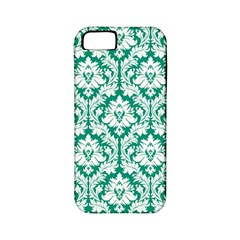 White On Emerald Green Damask Apple iPhone 5 Classic Hardshell Case (PC+Silicone)