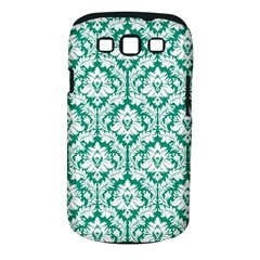 White On Emerald Green Damask Samsung Galaxy S III Classic Hardshell Case (PC+Silicone)