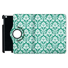 White On Emerald Green Damask Apple iPad 2 Flip 360 Case