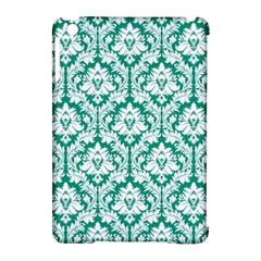 White On Emerald Green Damask Apple Ipad Mini Hardshell Case (compatible With Smart Cover)
