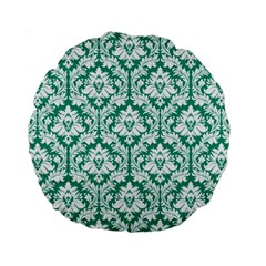 Emerald Green Damask Pattern Standard 15  Premium Round Cushion