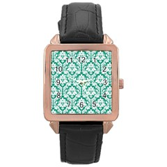 White On Emerald Green Damask Rose Gold Leather Watch
