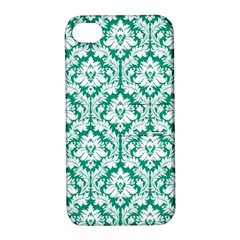 White On Emerald Green Damask Apple Iphone 4/4s Hardshell Case With Stand
