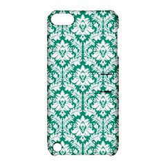 White On Emerald Green Damask Apple iPod Touch 5 Hardshell Case with Stand