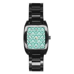 White On Emerald Green Damask Stainless Steel Barrel Watch