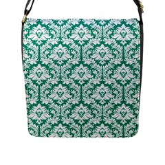 Emerald Green Damask Pattern Flap Closure Messenger Bag (l)