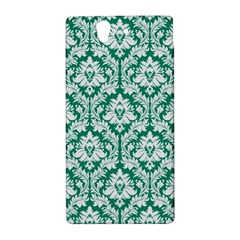 White On Emerald Green Damask Sony Xperia Z (L36H) Hardshell Case