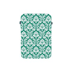 White On Emerald Green Damask Apple iPad Mini Protective Sleeve