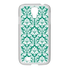 White On Emerald Green Damask Samsung Galaxy S4 I9500/ I9505 Case (white)