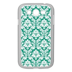 White On Emerald Green Damask Samsung Galaxy Grand DUOS I9082 Case (White)