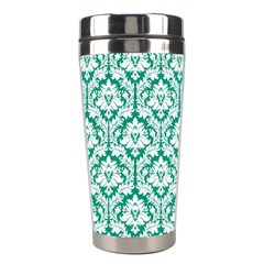 White On Emerald Green Damask Stainless Steel Travel Tumbler