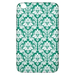White On Emerald Green Damask Samsung Galaxy Tab 3 (8 ) T3100 Hardshell Case