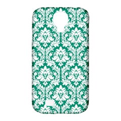 White On Emerald Green Damask Samsung Galaxy S4 Classic Hardshell Case (PC+Silicone)