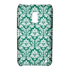 White On Emerald Green Damask Nokia Lumia 620 Hardshell Case