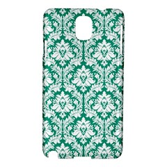 White On Emerald Green Damask Samsung Galaxy Note 3 N9005 Hardshell Case