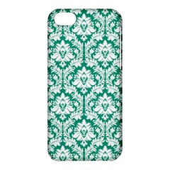 White On Emerald Green Damask Apple Iphone 5c Hardshell Case