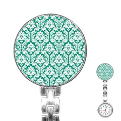 White On Emerald Green Damask Stainless Steel Nurses Watch