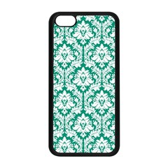 White On Emerald Green Damask Apple Iphone 5c Seamless Case (black)