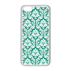 White On Emerald Green Damask Apple Iphone 5c Seamless Case (white)