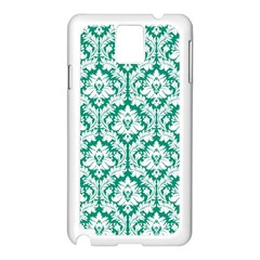 White On Emerald Green Damask Samsung Galaxy Note 3 N9005 Case (white)