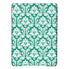 White On Emerald Green Damask Apple Ipad Air Hardshell Case