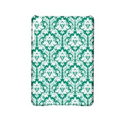 White On Emerald Green Damask Apple iPad Mini 2 Hardshell Case