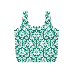 Emerald Green Damask Pattern Full Print Recycle Bag (S)