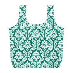 Emerald Green Damask Pattern Full Print Recycle Bag (l)