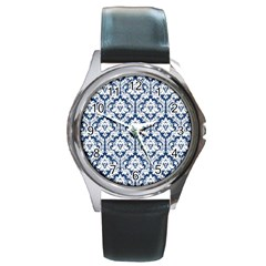 White On Blue Damask Round Leather Watch (Silver Rim)