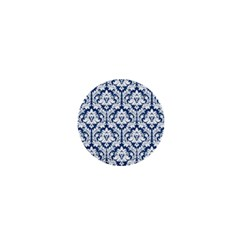 White On Blue Damask 1  Mini Button