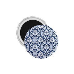 White On Blue Damask 1 75  Button Magnet