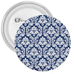 White On Blue Damask 3  Button