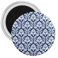 White On Blue Damask 3  Button Magnet