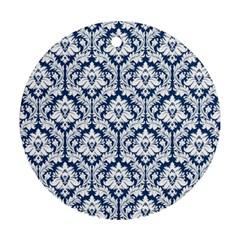 White On Blue Damask Round Ornament