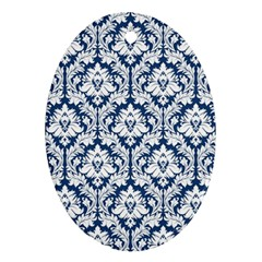 White On Blue Damask Oval Ornament
