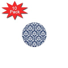 White On Blue Damask 1  Mini Button (10 pack)