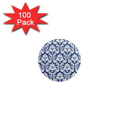 White On Blue Damask 1  Mini Button Magnet (100 Pack)