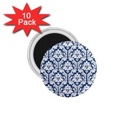 White On Blue Damask 1.75  Button Magnet (10 pack)