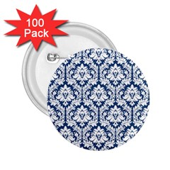 White On Blue Damask 2.25  Button (100 pack)