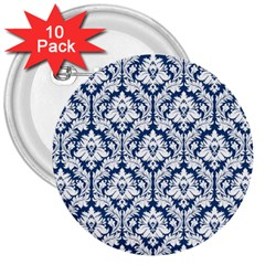 White On Blue Damask 3  Button (10 pack)