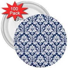 White On Blue Damask 3  Button (100 Pack)