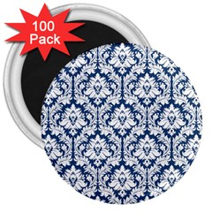 White On Blue Damask 3  Button Magnet (100 pack)