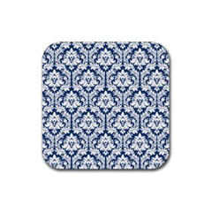 White On Blue Damask Drink Coasters 4 Pack (Square)