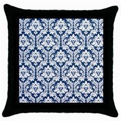 White On Blue Damask Black Throw Pillow Case
