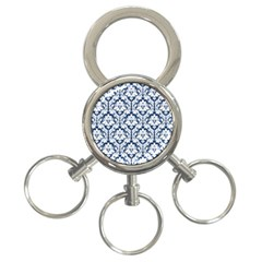 White On Blue Damask 3-Ring Key Chain